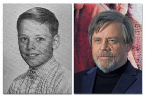 Middle school photo and current photo of Mark Hamill