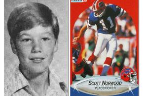 Middle school photo and trading card of Scott Norwood